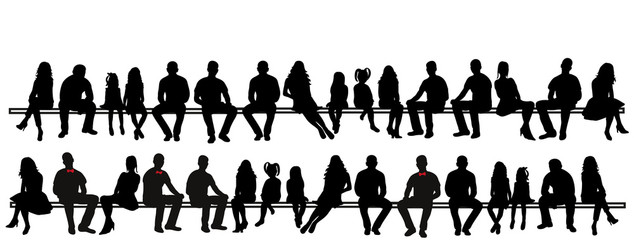 vector, isolated silhouette of men, girls and children sitting