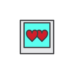 Photos with hearts filled outline icon, line vector sign, linear colorful pictogram isolated on white. Love photography symbol, logo illustration. Pixel perfect vector graphics