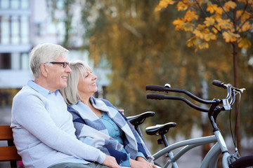 Cute elderly couple with bicycles resting in autumn park