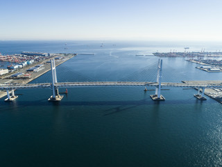 Cable-stayed bridge and the sea