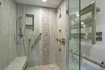 Contemporary bathroom design with walk-in shower.