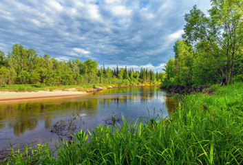 Beautiful summer landscape with Siberian nature. River Chet in the Tomsk region.