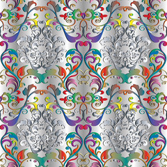 Baroque seamless pattern. Vector floral silver 3d damask bright background wallpaper fabric with vintage multicolor flowers, scrolls, leaves, swirls, dots, antique ornaments in victorian style