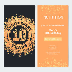 10 years anniversary invitation to celebration event vector illustration