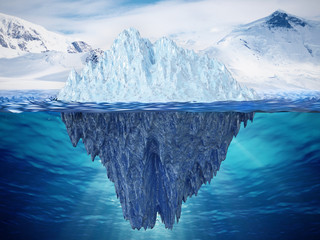 Realistic 3D illustration of an iceberg. 3D illustration