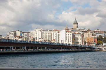 A view of the Galata Bridge and the Galata Tower