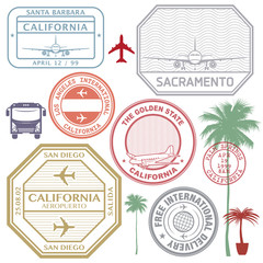 Retro postage USA airport stamps set California state