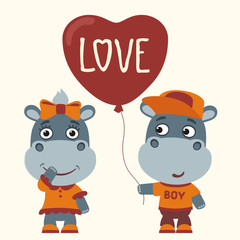 Love. Two funny hippo, boy and girl, with balloon-heart. Greeting card for Valentine's day.