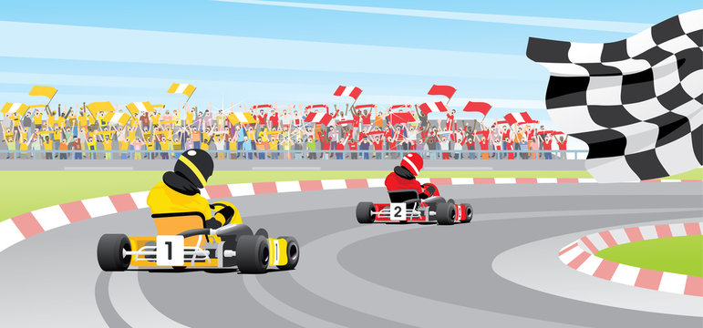 Kart crossing. Vector illustration