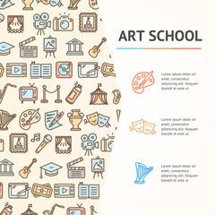 Art School Concept Infographics Banner. Vector