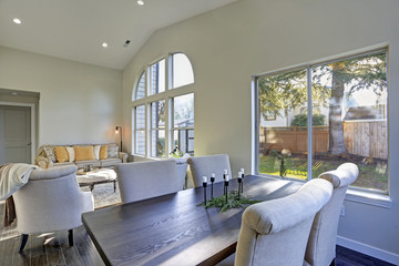 Dining room interior with backyard view.