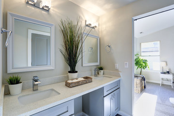 Warm and clean bathroom with grey double vanity cabinet