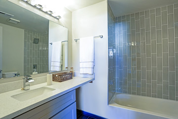 Warm and clean bathroom interior