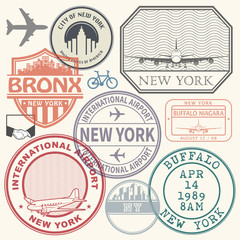 Retro postage USA airport stamps set New York