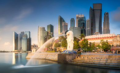 Poster de jardin Singapoure Business district and Marina bay in Singapore