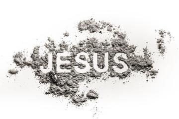 Word Jesus written in ash