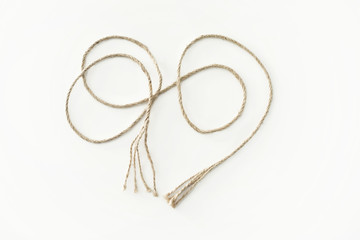 Beige cotton rope curl thin isolated white color
