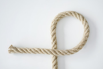 Bended cotton rope on isolated white color
