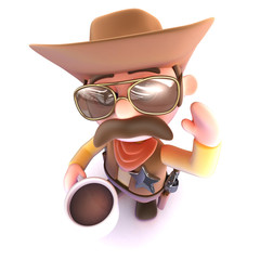 3d Funny cartoon cowboy drinking a cup of coffee