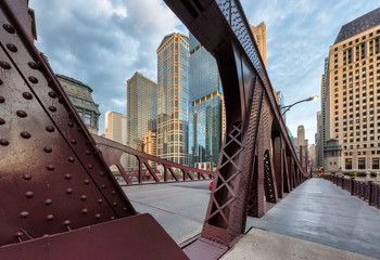 The Bridge in Chicago Downtown at sunset, Chicago, Illinois.