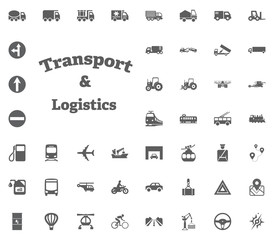 Transport and Logistics letter icon. Transport and Logistics set icons. Transportation set icons