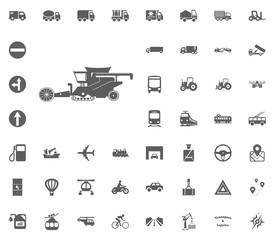 Combine harvester icon. Transport and Logistics set icons. Transportation set icons