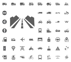 Road icon. Way. Traffic icon. Transport and Logistics set icons. Transportation set icons
