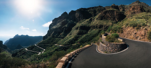 Panoramic view of mountain winding road leading to the village of Masca, Tenerife, Spain