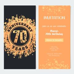 70 years anniversary invitation to celebration event vector illustration