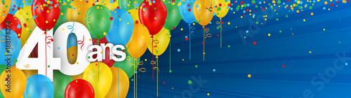 40 Ans Carte Joyeux Anniversaire Avec Ballons De Bauderuche Stock