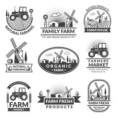 Signs and labels for farm market. Monochrome labels set with place for your text