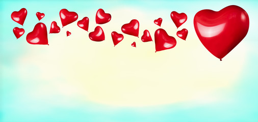 Red hearts shaped balloons on turquoise blue background. Love or Valentines day concept
