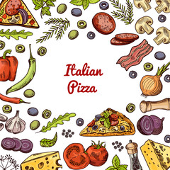 Vector hand drawn pizza ingridients and spices background with empty space in center for text