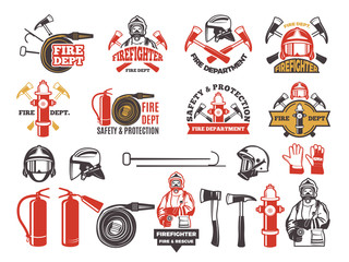 Colored badges for firefighter department. Symbols set of emergency protection isolated on white