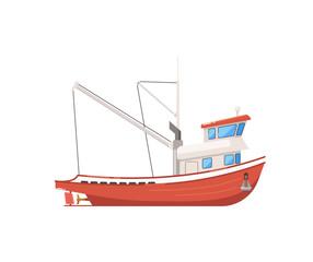 Vintage fishing boat isolated on white icon