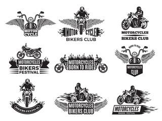 Motorbike illustrations. Logos for bike club