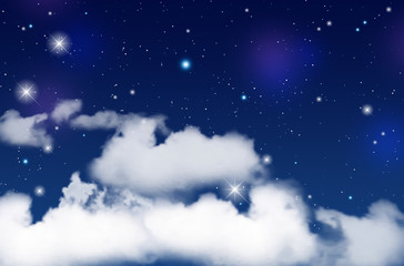 Blue night sky with white clouds and shiny stars