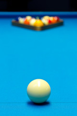 Billiard pool game eight ball setup on billiard table