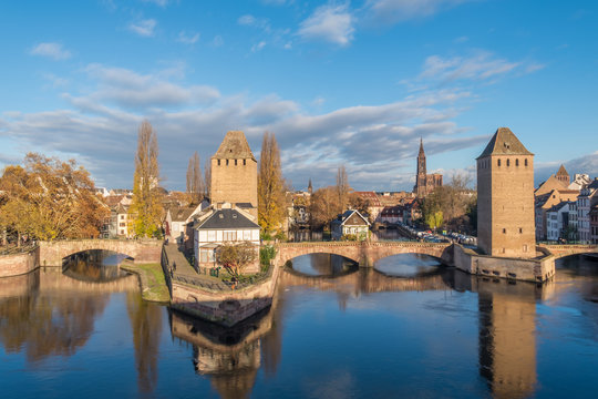 Ponts Couverts from the Barrage Vauban in Strasbourg France
