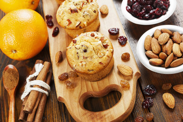 Orange muffins with dried fruits