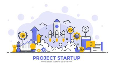 Flat Line Modern Concept Illustration - Project Startup