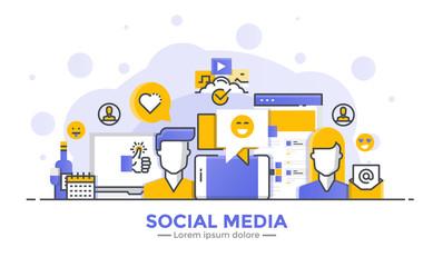 Flat Line Modern Concept Illustration - Social Meda