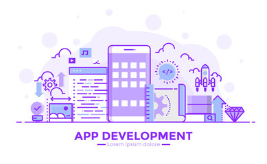 Wall Mural - Flat Line Purple color Modern Concept Illustration - App development