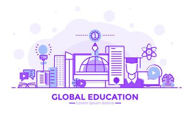 Flat Line Purple color Modern Concept Illustration - Global Education