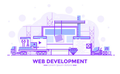 Flat Line Purple colorr Modern Concept Illustration - Web development