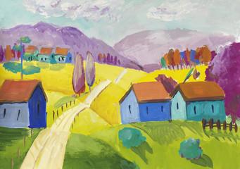 Fantasy rural scene with a small village