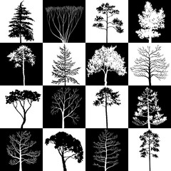 geometric seamless pattern with trees