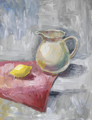 Still life with a white jar and lemon