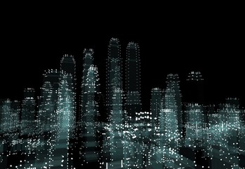 Illuminated night city skyline