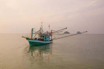 thai fishery boat in prachuap khiri khan southern of thailand